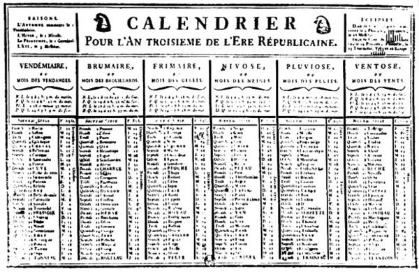 ... calendrier républicain remis au goût du jour | Agenda républicain