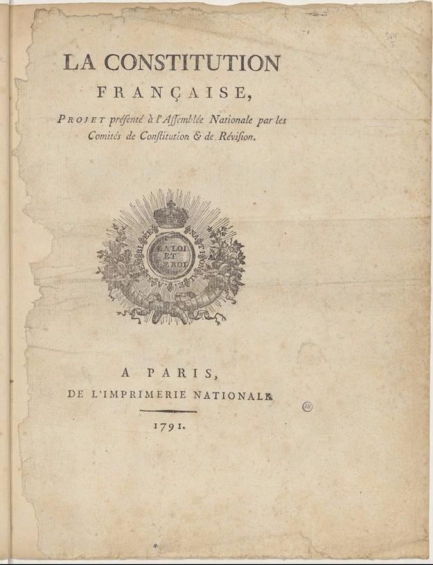 Exemplaire sur lequel Robespierre travailla pour établir la constitution de 1793